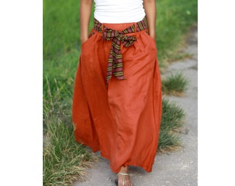 Dark Orange Maxi Skirt/ Long Skirt with sash and pockets/ Casual Linen Skirt