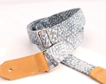 Blue Lagoon Ukulele Strap - Leather Ends and Optional Tie Lace
