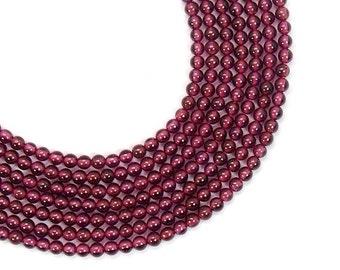24 Genuine Garnet Round Beads Jewel Gemstone 5mm Natural Stone Red Brown Semi Precious January Birthstone