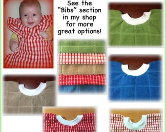 5 Towel bibs - primary set - assorted - girl boy - dish towel baby bib dish towel - kitchen towel bib