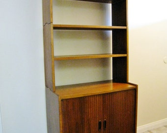 Reserved Lane mid century modern bookcase credenza cabinet vintage Danish wall unit