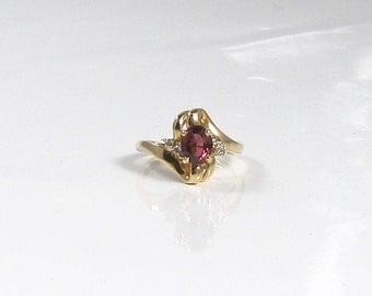 Free Form Garnet and Diamond Ring; Vintage Garnet and Diamond Ring; Oval Garnet Ring; January Birthstone Ring; Right Hand Ring