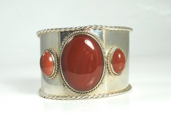Sterling Silver Sardonyx and Gold Stone Cuff Bracelet; Cuff Bracelet; Sardonyx Bracelet; Gold Stone Bracelet; Statement Bracelet