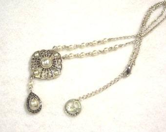 Trifari Jewelry, Faux Pearl, Vintage Style, Marquisette Rhinestones, Wedding Jewelry, Costume Jewelry