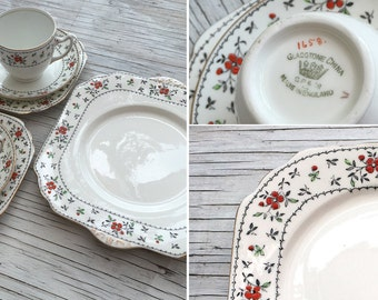 Vintage Bone China Tea sets. Select from trio, tea for two with jug or tea for two with serving plate. Hand painted flower design.