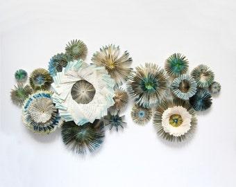 Modern Art Installation - Paper Cogs - Paper Sculpture - Blue Wall Decor - Recycled Book Art- Paper Star Constellation - Wall Sculpture