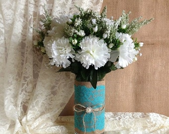 ON SALE Rustic Turquoise blue lace and natural burlap covered glass vase, wedding, bridal shower, baby shower, tea party table decoration