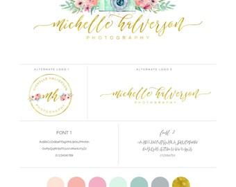 Watercolor Vintage Camera & Floral Logo design and Sublogo - Gold Foil Logo - Calligraphy Logo - photography Logo - boutique logo