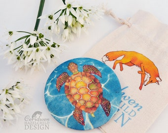 Turtle Fabric Pocket Mirror, Cosmetic Mirror, Makeup Mirror, Gifts for Women, Fabric Covered Mirror