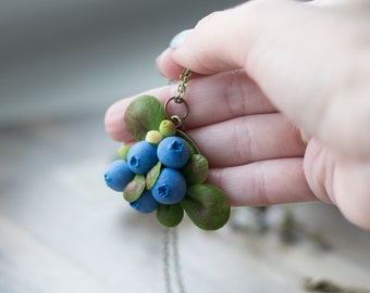 Blueberry necklace - berry necklace - botanical jewelry - nature rustic pendant - nature inspired necklace - berry jewelry - forest necklace
