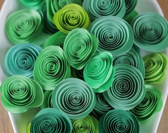 100 Pcs Green Spiral Paper Rosettes for Weddings and Craft Projects