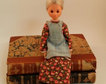 1970s Sunshine Family Grandmother / Grandma Doll in Calico Dress and Denim Apron -- 1973, Mattel