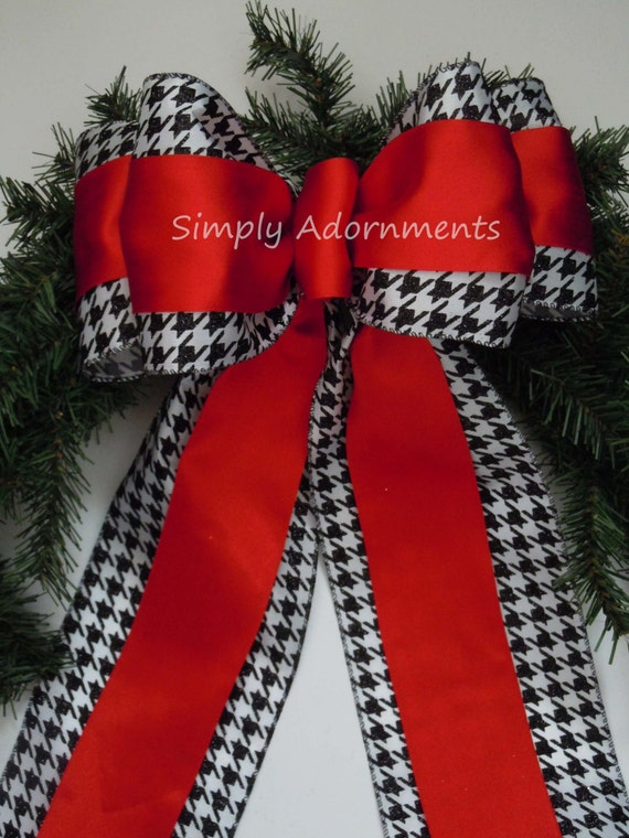 Red Black Houndstooth Bow Houndstooth Christmas Bow Red Black White Houndstooth Wedding Decoration Houndstooth Wreath Bow Present Door Bow