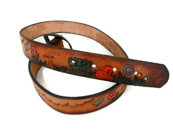 "Vintage Boho Hand Tooled and Painted Leather Belt, Flowers Mushrooms Butterflies, 29-34"" Waist"
