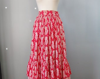 Folkloric Skirt / Vtg 70s / Radspieler Munchen Cotton Tiered Maxi Folkloric Skirt / Ethnic / Red White Floral