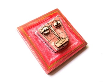Red face, Modern ceramic, Wall art ceramic, 3D wall sculpture, Colorful sculpture, Contemporary ceramics, Ceramic artist, 99heads