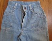 "vintage 70's denim ladies bell bottom jeans high waist small size 22"" bells"