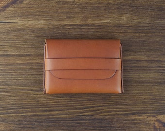 Hand-sewn fat card case wallet - Tan Italian vegetable tanned leather business card case