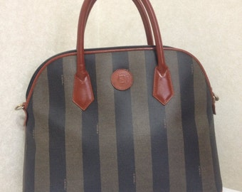 Vintage FENDI pecan khaki and grey stripe mid size tote bag with brown leather handles and trimmings in bolide shape.