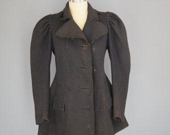 Black Wool Victorian Coat Steampunk M/L
