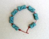 Teal Bead Set, Porcelain Beads ,  Handmade Ceramic  Beads ,  Jewelry Supplies