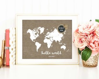 Rustic Nursery Decor, Personalized, New Baby Gift, Travel Art Print, World Map Poster, Baby Shower Gift, Travel Nursery Art, SKU046