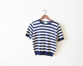 Striped Shirt / Silk Blouse / Womens Navy and Cream Stripe Blouse Small
