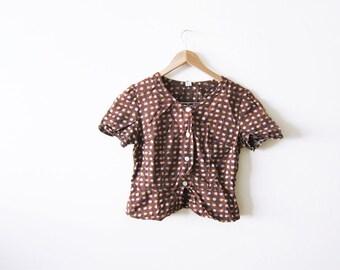 SALE 70s Blouse - Floral Shirt - Bohemian Peasant Top - Brown Hippie Shirt