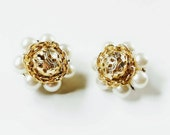 Bead Cluster Earrings, Clip On White Faux Pearls, Signed Japan, Silver and Gold, Vintage Clip On Bead Earrings