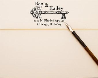 Vintage Work Key Return Address Stamp - Personalized Self Inking Stamper