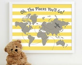 nursery map art, travel theme nursery artwork, baby room decor, airplane explore adventure nursery decor, nursery quote, places you'll go