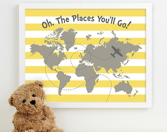 travel nursery art, oh the places you'll go art, baby boys room, nursery map of the world map art, adventure travel theme nursery wall decor