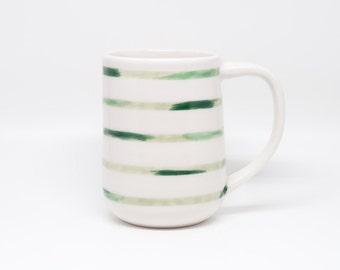 large green brushstroke stripe mug