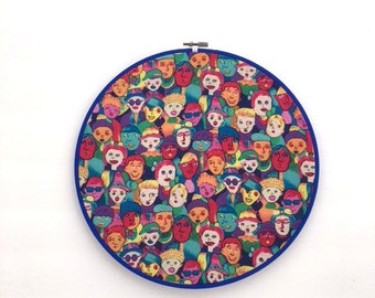 PEOPLE Are Strange / Upcycled VINTAGE FABRIC Hoop Art / Costa Del Sol Textile Wall Hanging / 90's Colorful Wall Art