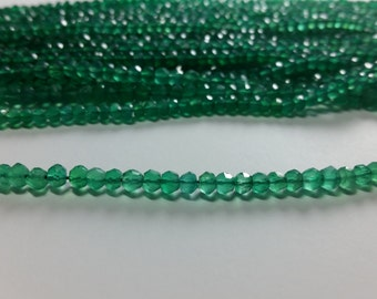 Emerald Green Onyx Faceted Rondelle Gemstone Beads  3mm - 4mm