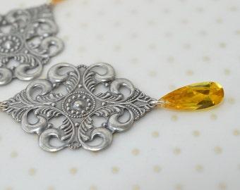 Large silver filigree earrings Medieval jewelry Yellow CZ teardrop dangle earrings Antiqued silver chandelier earrings Lightweight earrings