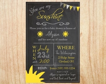 You are my Sunshine Baby Shower Invitation DIGITAL shower invite printable party gender neutral