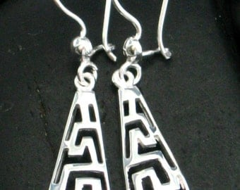 Geometric Pendant & Earrings Set in Sterling Silver .925 - Beautiful Drop Earrings and Matching Pendant - Great Gift Idea
