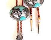 Wolf Pair His and Her Matching Bolo Ties