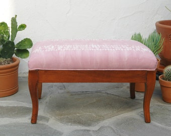 Blush Pink Ottoman with Hand dyed Shibori Fabric | Rose Quartz Upcycled Upholstered Ottoman Footstool Recycled Furniture Recycled Stool