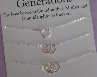 Generations Necklace // GRANDMOTHER Mother Daughter // Grandmother Granddaughter //  Mother Daughter Necklace // Grandmother Necklace