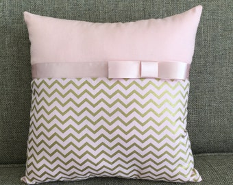 Blush Pink and Gold Chevron Pillow with Dainty Decorative Bow