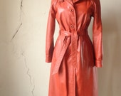 70s orange leather trench// small