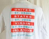 vintage 90's U.S. Virgin Islands St. Croix St. John St. Thomas Neon white graphic t-shirt neon orange pastel acqua back front logo print XL
