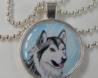 dog alaskan malamute pendant - animal jewelry - necklace charm