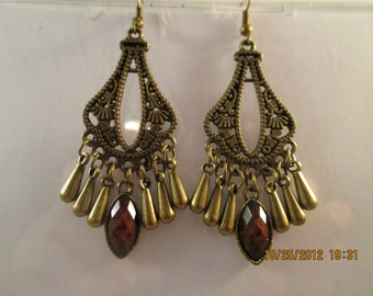 Bronze Tone Chandelier Earrings with Bronze Tone Teardrop Dangles and a Brown Center Dangle