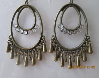 Bronze Tone Chandelier Earrings with Clear Rhinestones and Bronze Teardrop Charm Dangles