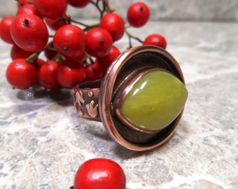 Green Stone Ring, Vasonite Jewelry, Mother Nature, Green Eyed, Medieval Ring, Copper Ring, Tulip Flowers, Nature Inspired, Eye of Nature