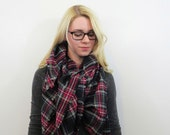 Plaid Blanket Scarf. Oversized Wrap. Flannel Shawl. Red and Black Plaid Large Fringe Scarf. Cotton Blanket Scarf. Tartan Wrap Gifts for Her