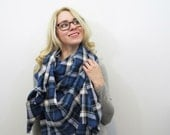 Blue Blanket Scarf. Lightweight Spring Scarf. Oversized Plaid Shawl. Blue and White Tartan Wrap. Cotton Fringe Blanket Scarf. Gift for Wives